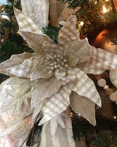 28 Inch Sack Cloth Poinsettia .  Add to your holiday tree, tabletop decor or mantle... Amazing !!!