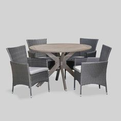 Cedros 5pc Acacia Wood And Wicker Dining Set - Christopher Knight Home : Target Wicker Dining Chairs, Outdoor Dining Furniture, Dining Arm Chair, Patio Dining, Circular Table, Furniture Hardware, Acacia Wood, Wooden Tables, Christopher Knight