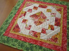 Quilted Table Topper, Spring Floral Tabletop