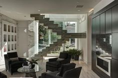 Unique floating staircase.