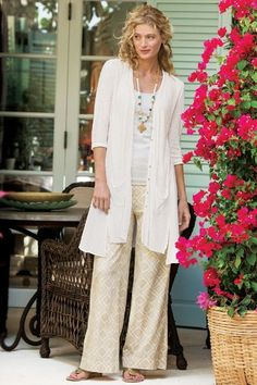 """In breezy cotton woven gauze, these wide-leg pants have a beautiful drape and wear-all-day ease. Invisible zipper/button closure with tunneled elastic at back. Hidden side pockets. Buff. Misses 30"""" long. Sits at natural waist. Serengeti Pants #2AF72"""