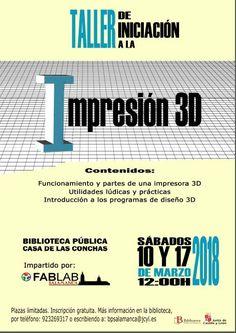 Taller de iniciación a la impresión en 3D, sábados 10 y 17 de marzo a las 12 h.