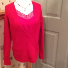 Pretty red sweater, with built in cami Red sweater has built in tank top. So no worry, size medium, cozy and cute at same time, although pre loved, in great shape Cato Sweaters Crew & Scoop Necks