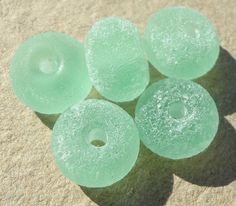 Beach Stone Spacers-Sea Glass Green Handmade lampwork by Genea  £14 & £7 USA