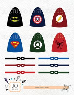 Superhero Themed Lollipop Capes and Masks by JoStudioPartyPaperie, $7.00