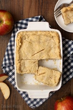 A double-crusted apple pie made in a 5×7 pan rather than a pie plate. That means you can cut it into bars and have pie on-the-go.