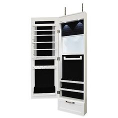 Amazoncom White Mirrored Jewelry Cabinet Armoire W Stand Mirror