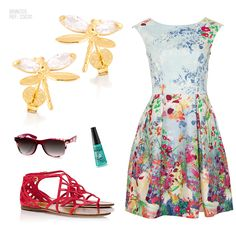 Vestido florido e os brincos de libélula da Ronnelly.  #libélulas #vestido #brincos #joias #ronnelly