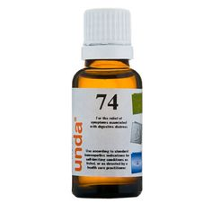 Unda 74 0.7 fl oz  Homeopathic Preparation  • Contains 31% Alcohol  Formula  Each Drop Contains Equal Parts of: Hamamelis virginiana (Witch hazel) Bark . . . . . . . . . . . . . . . . . . . . . . . 4X Cynara scolymus Leaf . . . . . . . . . . . 4X Lycopodium clavatum (Clubmoss) Spore . . . . . . . . . . . . . . . . . . . . . . 6X Boldo Leaf . . . . . . . . . . . . . . . . . . . 6X Sepia Inky Juice . . . . . . . . . . . . . . . 6X  Inactive Ingredients: Ethanol (beet), purified water
