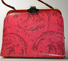 Decoupage Vintage Red and Black Swirl Pattern Purse by borahstyle, $50.00