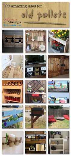 ♥LOVE♥ 20 amazing uses for old pallets from Marty's Musings #palletprojects #diywithpallets