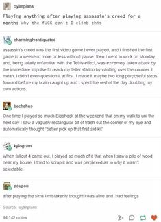 This effect is big part of the reason why games that glorify beating, raping, killing women ought to be banned. If you think it doesn't alter the way players view/interact with women irl, you're mistaken. Funny Text Posts, Funny Tumblr Posts, Funny Quotes, Funny Memes, Hilarious, Jokes, Crazy Friends, Fandoms, Tumblr Stuff