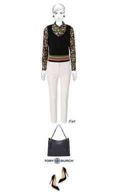 Office outfit: Beige - Black - Floral by downtownblues on Polyvore #officewear  #FloralTop  #capri  #tote #ToryBurch  #ChristianLouboutin