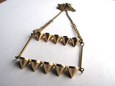 Gold Spike Necklace Brass Chain and Spike by HomeGrownIllinois, $26.00