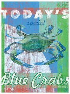 Today's Special Blue Crabs Artwork: Beach Decor, Coastal Decor, Nautical Decor, Tropical Decor, Luxury Beach Cottage Decor