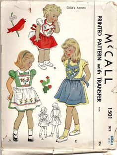 McCalls 1501 1940s  Girls Childs  Apron Pattern Shaped Bib and Criss Cross straps vintage sewing pattern by mbchills,