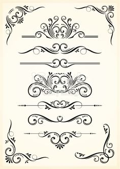 An a Vector Illustration of Vectorized Scroll Set and Corners