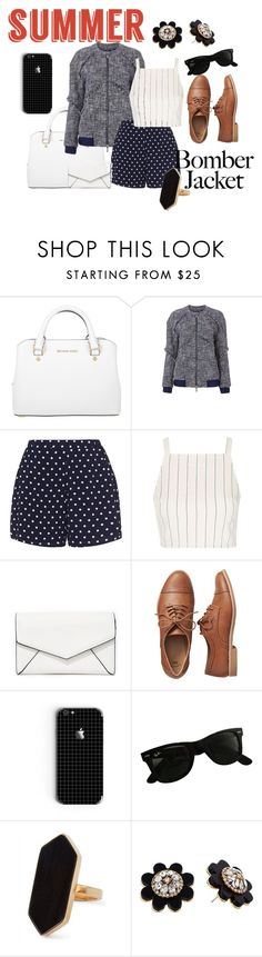 """Light Topping: Summer Bomber Jackets"" by mangofruit44 ❤ liked on Polyvore featuring Michael Kors, Diane Von Furstenberg, Zizzi, Topshop, LULUS, Gap, Ray-Ban, Jaeger, Kate Spade and bomberjackets"