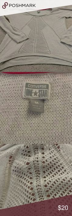 CONVERSE  knit sweater This is a light sweater by Converse in a cream color. It has beautiful know detailing in the front. Barely worn. Wonderful condition. Converse Tops Blouses