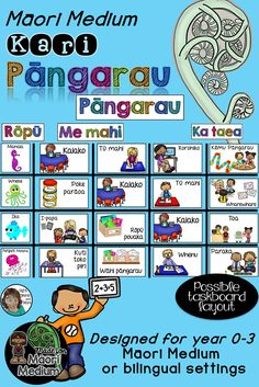 Kari pangarau (maths rotation task cards) are specifically designed for Maori Medium teachers with full immersion or bilingual classrooms (NZ).  These clear, colourful and appropriately illustrated kari pangarau, will assist you in making your own Maths Taskboard for your Maori Medium junior classroom (year 0 to 3). Te reo Maori is the only language used in this set. #MaoriMediumTeachingResources