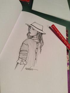 Girl with Panama - pencil