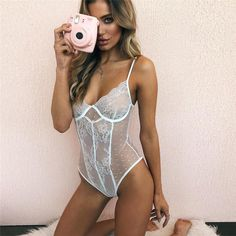 cce736a26e See-through Floral Lace Polka Dot Bodysuit Lingerie – Lupsona Body Lingerie