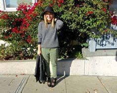 Sweater: F21   Pants: Target   Hat: Target   Jacket: Bar III   Heels: Zara