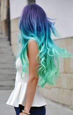 Gorgeous! Seen the girl do it, part of the hair is extensions died lightest greenish blue.