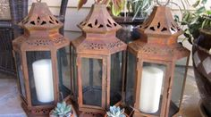 16 inch rust patina stagecoach lantern for wedding by madebysheri, $42.00