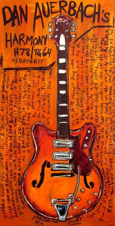 Love The Black Keys, but love this guitar even more. 23x45. Acrylic, charcoal and spray paint on canvas.