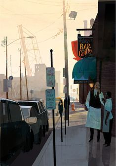 Johnny's by Jamey Christoph | City Scenes series | Artist note: Inspired by the street corners and subjects of my Cleveland neighborhood, selections from this series were published in the Communication Arts Illustration Annual 2010.""