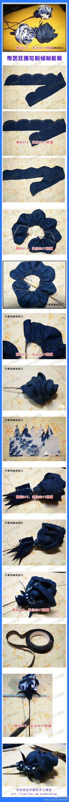 DIY Simple Fabric Rose by diyforever