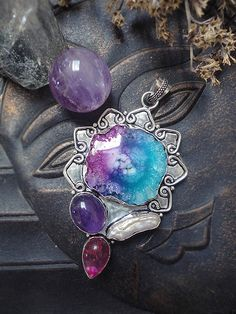 Solar Quartz Necklace Sterling Silver Necklace Sun by SierDreamS