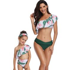 2PCS Family Matching Flower Leaf Print Lace up Halter Bikini Swimsuits Mommy Me Sleeveless Mother Girl Swimwear