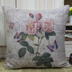 """18""""x18"""" Vintage Pink Rose for Girlfriend Cushion Cover Pillow Case :         .        Product name: Cushion Cover CC67  Size:18""""x18"""" (45cmx45cm)  Material: Linen Cotton  Cushion Cover only, Price is for 1pc.    Remark:   1.The Printing is in the front, no printing only natural color of linen in the back.  2.All cushions are handmade, so please understand there may...Check Price >> http://gethotprice.com/appin/?t=B008W89FSA"""