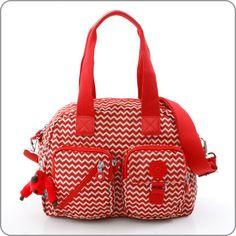 Kipling-Tasche-Defea-Chevron-Red-Print