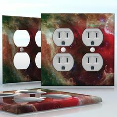 DIY Do It Yourself Home Decor - Easy to apply wall plate wraps | Heart of Space  Heart shaped gas clouds in space, beautiful universe picture  wallplate skin sticker for 2 Gang Wall Socket Duplex Receptacle | On SALE now only $4.95