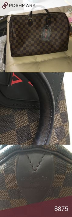Louis Vuitton Speedy 35 Damier Ebene Pre loved LV Speedy 35.. Shows wear on handles scratches on gold areas of bag including zipper pull, and handle area. Stain under pocket, inside is clean has a little bit of glitter currently but will get it out. Opposite leather tab is bent, no tears or rips outside is in perfect condition. Comes with dust bag no lock or key . Guaranteed  authentic, comment for additional pics! Have a base shaper for extra 15 Low balls will be automatically declined…