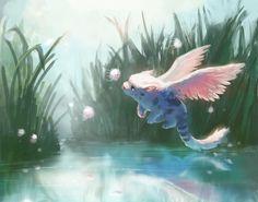 Cute Fantasy Creatures, Mythical Creatures Art, Cute Creatures, Magical Creatures, Fantasy Kunst, Fantasy Art, Cute Animal Drawings, Art Drawings, Pretty Art