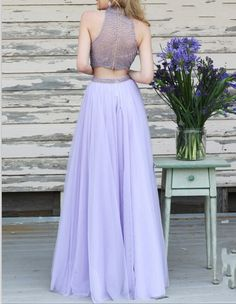 Buy Gorgeous Two-pieces Beading Halter Neck Prom Dress-Tulle Sleeveless Long Prom Dress Junior Prom Dresses under US$ 176.99 only in SimpleDress.