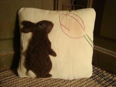 PRIMITIVE RABBIT ON ANTIQUE EMBROIDERED QUILT MINI PILLOW ~ ORIGINAL FOLK ART
