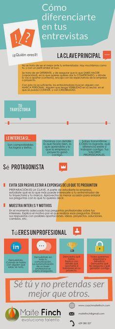 Cómo diferenciarte en tu entrevista de trabajo #infografia #infographic #empleo