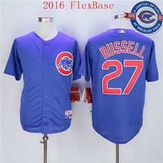 28702752e ... Mens Chicago Cubs 27 Addison Russell Blue Alternate 100TH Anniversary  2016 Flexbase Jersey ...