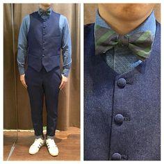 c1b3c0432b8cb navy denim suit. ネイビーデニム素材のスリーピース 王道のギンガム ...