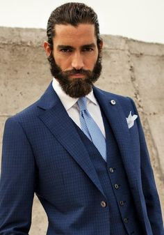 Maximiliano Patane in a blue suit, perfect. Suit Up, Suit And Tie, Sharp Dressed Man, Well Dressed Men, Moustaches, Suits You, Mens Suits, Suit Fashion, Fashion Menswear