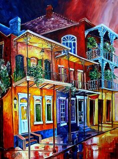 New Orleans Art by Diane Millsap Original Oil on Canvas 40 Inches H. x 30 Inches W. New Orleans Art, Colorful Art, Art Painting, Painting, Oil Painting, Whimsical Art, Art, Louisiana Art, Love Art