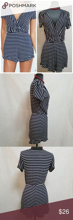 """Urban Outfitters Kimchi Blue Surplice Romper Small Great condition  Fun nautical look, great for a cruise or beach. Chest 15"""" Inseam 2.5"""" Length shoulder to hem 31""""  My home is smoke free and pet free.  I consider all offers.  Check out the other items in my closet to bundle for a discount.  HAPPY Poshing! Kimchi Blue Shorts"""