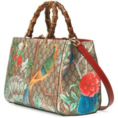 Gucci Tian Floral GG-Supreme Shopper Tote Bag ($1,980) ❤ liked on Polyvore featuring bags, handbags, tote bags, brown shopping bags, gucci handbags, gucci purses, canvas tote bag and shopping bag