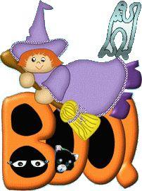 """Oh my Alfabetos!: Alfabeto animado de bruja sobre rótulo de """"boo!""""."""