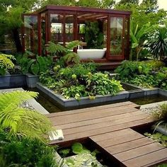 small modern garden ideas contemporary garden design came about as land areas for gardening Outdoor Bathrooms, Outdoor Rooms, Outdoor Gardens, Outdoor Living, Outdoor Bathtub, Indoor Outdoor, Outdoor Retreat, Backyard Retreat, Outdoor Office